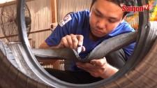 Trang hoàng đón tết bằng vở lốp xe